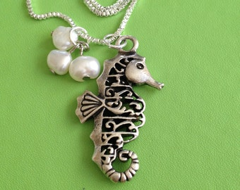 Seahorse and Pearl Necklace