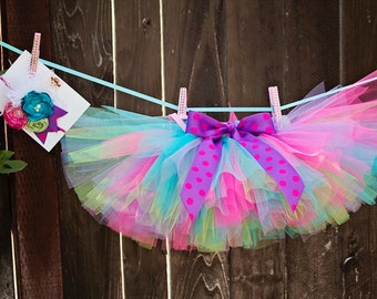 Bright Fun Colors Toddler Baby Girl Tutu and Headband Set - 1st 2nd 3rd 4th Birthday - Great Photo Prop