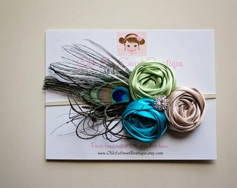 Stunning Triple Rosette Headband with Peacock Feather - Baby Girl Toddler Headband - Great Photo Prop