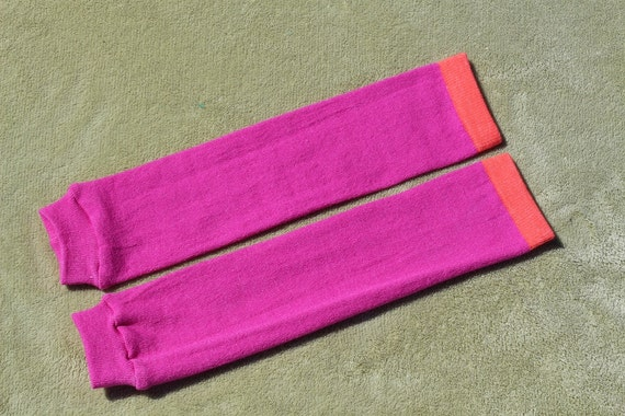 Simple Baby Leg Warmers - Magenta and Orange - baby legs, kids clothes, baby shower gift, girl leggings, arm warmers