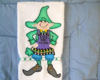 St. Patrick's Day Hand Towel Bathroom or Kitchen Irish Leprechaun