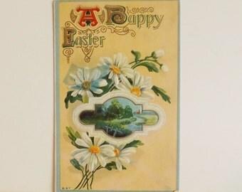 Antique Easter postcard daisy flowers and pastoral scene unused ephemera