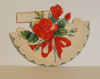 Vintage Hallmark place card red roses