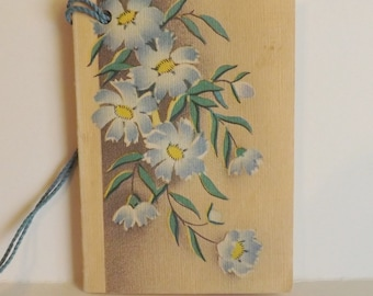 Vintage bridge tally card with blue flowers floral scorecard ephemera