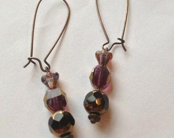 Plum Flower Czech Glass Cathedral Bead Earrings