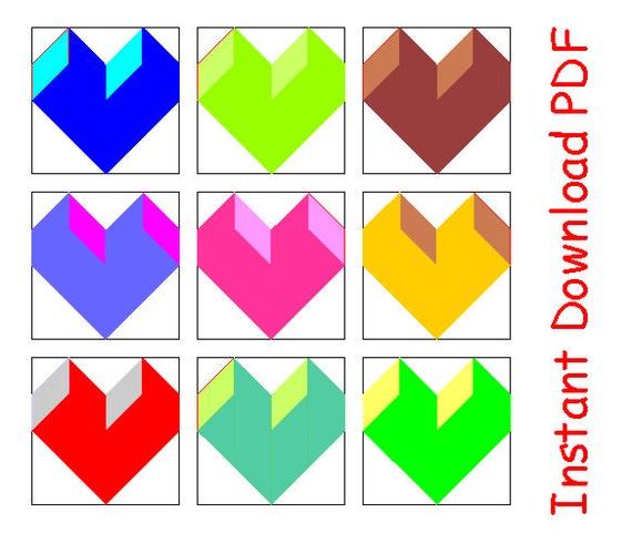 3D Graffiti Heart Paper Pieced Quilt Block PDF Pattern INSTANT Download