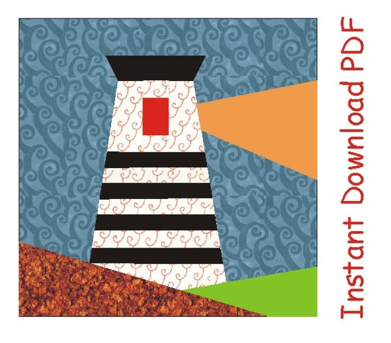 Quilting Lighthouse Patterns : Ahoy Lighthouse Paper pieced Pattern quilt block INSTANT