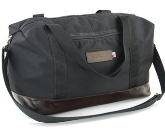 Tuscan Travel Duffel in Classic Black and Italian Molasses Leather