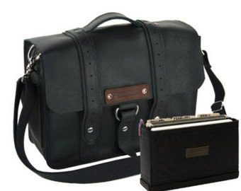"15"" Black Belmar Voyager Leather Briefcase - Made in America"