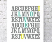 ABC I Love You Alphabet Typography Print. Seafoam and Yellow. Inspirational Quote Wall Art Poster Alphabet Letters Words Nursery Art - TA106