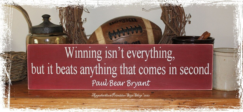 Wood sign alabama crimson tide bear bryant football quote wall for Alabama football wall mural
