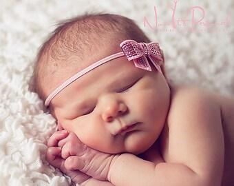 Light pink sequin bow headband - newborn baby infant headband - photo prop