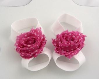 raspberry and white polka dot mini shabby flower baby barefoot sandals