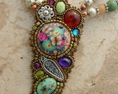 Gemstones and Flowers Necklace