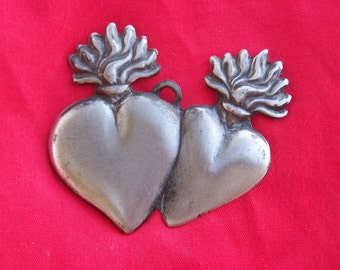 Tin/Silver Sacred Heart Twin Milagro Ex Voto
