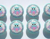 8 PINK AQUA  OWL  paisley kids girls Dresser Drawer Knob