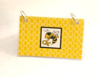 Index Card Binder 3 x 5, Index Card Holder, Personalized Flashcard Holder, Recipe Book, Laminated Note Card Binder, Blank, GEORGIA TECH