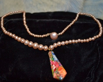 Pearls Vintage with Rainbow Sea Sediment Jasper with Pyrite Paris Chic Graduation