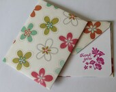 Set of 2 Stationery - Thank You Card - Hot Pink Fuschia Flowers with Orange and Green Flowers