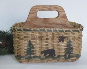 Silverware Basket-Paper Plate Basket-Napkin Basket-Divided Basket-Utensil Basket-Organizer Caddy Basket-North Woods-Bear