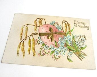 Antique German Easter postcard, ASB 232, embossed, gilded, pink polka dot egg, golden amaranthus, blue forget-me-not flowers, vintage 1910s
