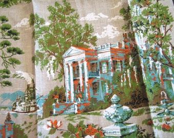 Parisian plantation. Striking vtg Parisian Prints linen towel, excellent unused condition, with original tag.