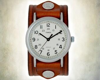 Women's  Leather Cuff Watch - Retro