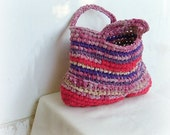 Rag bag - crochet hand bag in lovely red, bourdeaux and purple fabric yarns