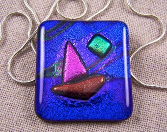 Sailing at Night - Sailboat Large Pendant & Brooch Pin - Dichroic Fused Glass - Cobalt Blue Pink Green Midnight Moon