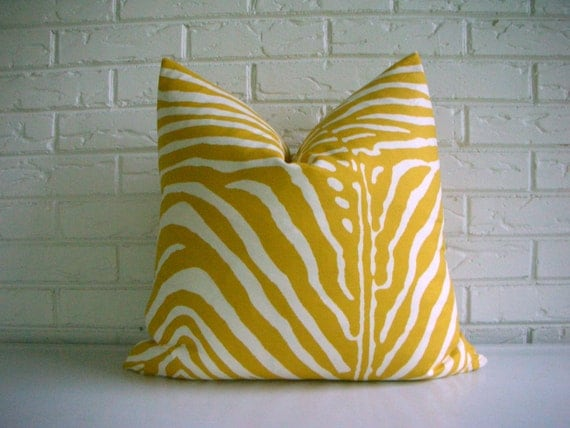 Mustard Pillow Cover - Zebra Print Throw - Yellow White Animal Print - Modern Eclectic Décor