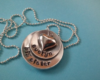 Big Sister Necklace. Personalized Big Sister Necklace. Hand Stamped Necklace with Big Sisters Name. Puffy heart.