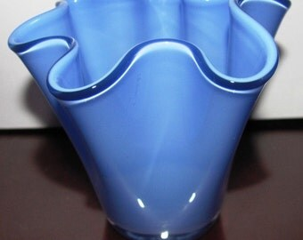 VALENTINESALE Blue Crimped Canterbury Style Vase