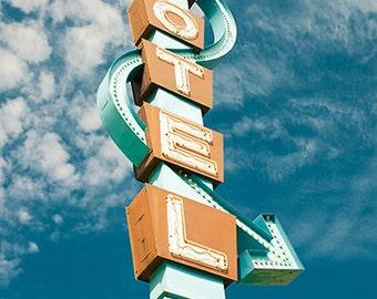 Vintage Motel Sign Photograph, Typography, Travel Photograph, Graphic Designer Gift, Wonderlust, Star Motel
