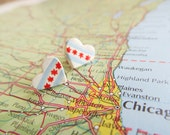 """World Flag Heart Earrings... USA Illinois City Chicago """"I Love Chicago"""""""
