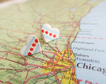 "World Flag Heart Earrings... USA Illinois City Chicago ""I Love Chicago"""