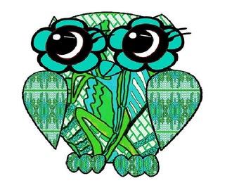 cute owl print, owl painting, bird art, green and teal, whimsical owl art, bird art, contemporary, modern