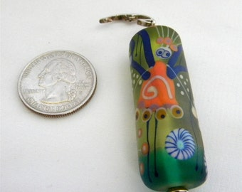 SALE  Sale  Artist, Melanie Moertel Glass Lampwork Fairy Bead Pendant w/ Removable SS Bail