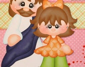 "12 x 12 Child Girl Premade Scrapbook Page w/paper piecing ""Jesus Loves Me"""