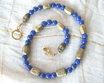 Lapis lazuli and antique Ethiopian brass bead necklace