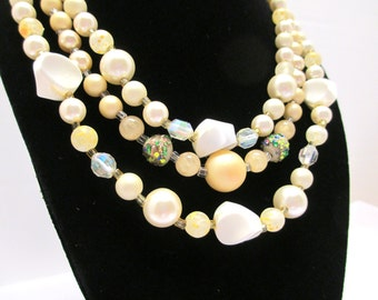 Vintage Three Strand Faux Pearl, Aroura Borealis Crystal, Marbled Bead Necklace