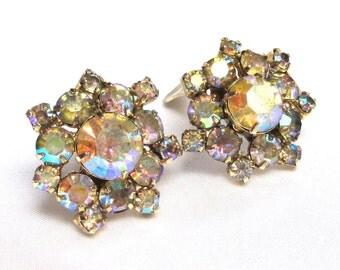 Vintage Champagne Aurora Borealis Rhinestone Earrings, Clip on