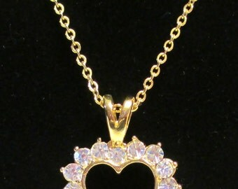 Vintage Rhinestone and Faux Pearl Heart Pendant Necklace, Reversable