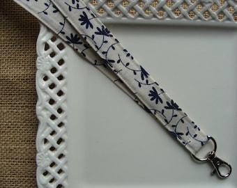 Fabric Lanyard ID - Navy Blue Lotus Leaf on Ivory