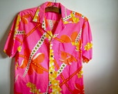 On Sale Vintage Pink Men's Hawaiian Shirt Pink Polyester Royal Hawaiian Retro Vintage Shop Vintage Fashion Party Shirt MEDIUM