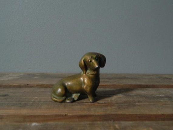 Dachshund Brass Vintage Home Decor Doxie Hot Dog