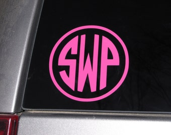 "Personalized Vinyl Car Monogram Decal - choose your colors, monogram style, and size - 2"", 3"", 4"", 5"", 6"" sizes"