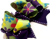 Girls Boutique Layered Hair Bow - Totally Groovy - Neon Green, Purple, Blue, Yellow, Pink, Groovy, Flower Power