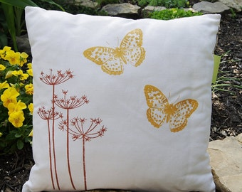"""Queen's Anne Lace in Copper Brown Color with Yellow Butterflies/ Handprinted Pillow Cover / Organic Linen/ 16""""x16""""/Ready To Ship"""