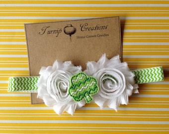 Green Chevron St Patrick's Day Spring Shabby Flower Shamrock  Headband