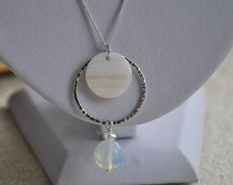 Circle, shell and semi precious stone dangle pendant